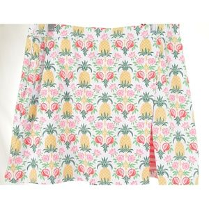 J McLaughlin skirt skort pineapple fruit stripes p